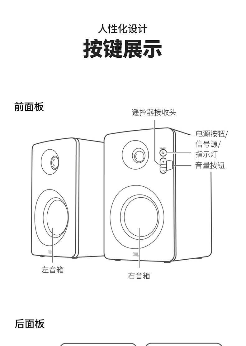 JBL CM220 台式HIFI多媒体2.0书架监听音响 台式电脑 蓝牙音箱