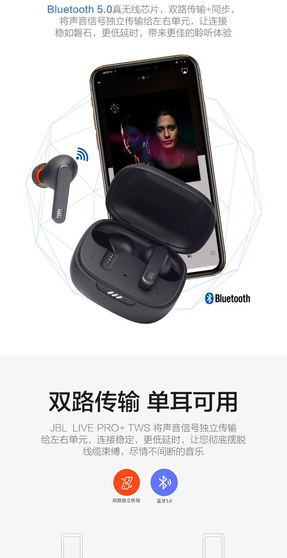 JBL LIVE PRO+ TWS真无线蓝牙耳机游戏音乐带麦降噪耳机